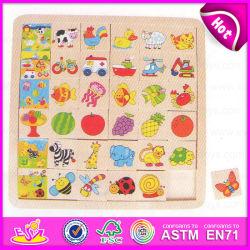 2015 Animaux puzzles en bois de couleur pour les enfants, commerce de gros d'enfants Puzzle en bois, Hot Sale cadeau promotionnel Puzzle en bois jouet W14C220