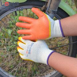 Gants de sécurité professionnels de l'usine de couleur jaune orange double 2 deux fois latex enduits de feux de croisement lisse Asatex travaillant la main des gants