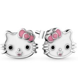 Lindo gatito Diseño pendientes 925 Joyería de Plata con esmalte