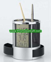 Calendário do LCD titular de lápis do relógio caso