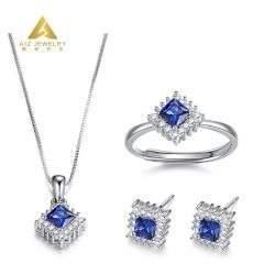 Suite 925 Sterling Silver Gold Conjunto de jóias com diamantes Fashion Gemstone jóias para casamento aniversário