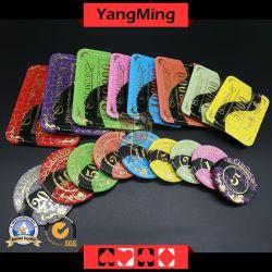 Em acrílico cristal / Poker Malha Chips Bronzagem silk-screen Chips Casino