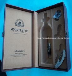 Papier de luxe en cuir marron de l'emballage en carton cadeau en bois de la poignée de regarder les bijoux cosmétiques Boîte de vin