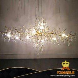 Átrio do Hotel Cristal luxo moderno ramo LED Lustre Latão (KJ8200)