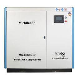 Mickllende 30 compressori d'aria rotativi senza olio della vite di Oilless AC/DC dell'HP 22 dell'invertitore di chilowatt di risparmio di temi dell'aria della macchina a vite ad alta pressione industriale a basso rumore dell'estremità