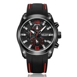 Megir ODM-und Soem-Silikon-Band-Mann-Quarz-Armbanduhr