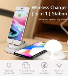 Caricatore senza fili della stazione di carico di Smartphone con la piccola lampada di notte del fungo