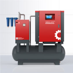 指示しなさい空気ドライヤーおよびタンク(ISO&CE)が付いている運転された携帯用産業Oilless回転式ねじ空気圧縮機の省エネの高性能の圧縮機を