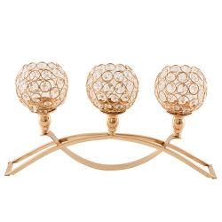Arco clássico europeu decorativas vela de cristal de ferro titulares com 3 Ramos