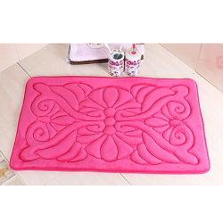 Estilo clássico 2 PCS tecido flanela Gofragem Flower Bathmat