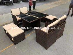 Steel & matériaux en verre de meubles en osier ensemble canapé et table