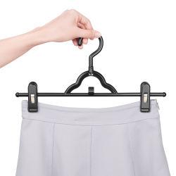 Pantalon de forme de tube en plastique noir avec clip de crochet de suspension (pH1403C-bl3)