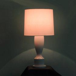 Céramique blanche et le tissu de l'ombre lampe de bureau à l'éclairage intérieur fluorescent