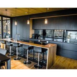 Venda por grosso de melamina moderno narrados armário de cozinha negra europeia