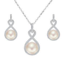La mode argent 925 Bijoux Set avec l'eau douce Perle