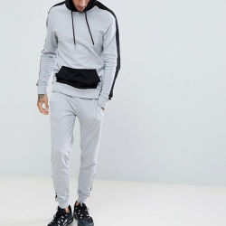 2018 Design de Mode Custom Made Sports Wear Costumes Des Hommes Adultes avant D'été Full Zip Correspondant à la Sueur Costumes de Jogging