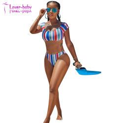 Ivanka Off White/Red & Blue Stripes dois pedaço Swimsuit
