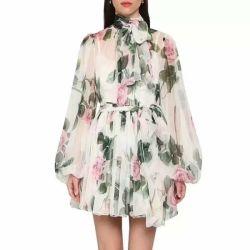 طويل كم بيضاء [شفّون] ثوب خاصّ بالأزهار يطبع فصل صيف ثوب