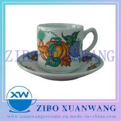 Tasse et soucoupe en porcelaine droite définie avec l'impression de légumes frais et de la plaque de tasse à café en céramique fixés pour la promotion