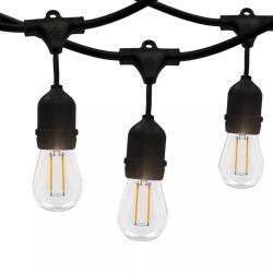 48 FT Noir sur le fil de chaîne étanche de la lumière avec douille de lampe E26