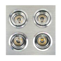 De aluminio torneado MR16 GU10 multiángulo de 4 unidades de LED Empotrables de inclinación de la plaza de la luz tenue (LT2301-4)
