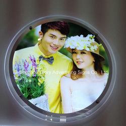 Caixa de luz de cristal redonda moldura fotográfica de Cristal
