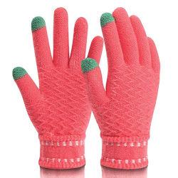 Zmsafety Soft comfortabele wol Winterhandschoenen Anti-Freeze touchscreen Technologie Acryl Warme liefde kleurrijke mobiele telefoon Touch smartphone rijden Mittens