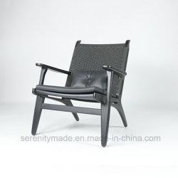 革クッションが付いている現代ホーム家具の黒の藤のあと振れ止めの余暇の椅子
