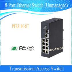 De 8-haven van Dahua 2-laag de Industriële Schakelaar van Ethernet van het Niveau (PFS3110-8T)