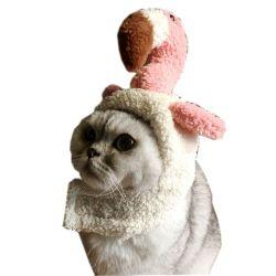 ペットウォームヘッドウェアソフトフラミンゴヘッドギア 顎の革ひも猫の犬のヘッドの付属品 Dailywear 党 Costume Esg12621
