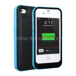 2000mAh Mophie Juice Pack Plus Outdoor Edition d'alimentation de sauvegarde de batterie externe rechargeable Étui pour iPhone 4 et 4s (bleu)