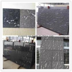 Mosaico de piedra natural de la pared exterior de China Jet Black Mist nieve para el revestimiento de granito gris/cubriendo