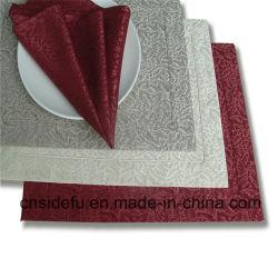 Serviette 100% de tissu de Tableau de dîner d'hôtel de polyester de vente en gros