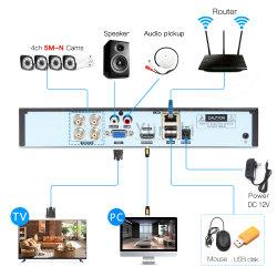H. 265 4CH 5m Camera's Onvif NVR van de Videorecorder DVR P2p Ahd/Tvi/Cvi/CVBS/IP van kabeltelevisie van de Veiligheid HVR Hybride
