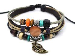 Vintage Bracelet cuir tressé en alliage de bracelet de cordon