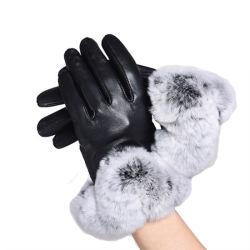 Леди мода фо меховые манжеты Sheepskin одежды кожаные перчатки