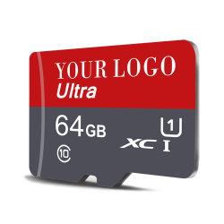 Venda por grosso de capacidade real de 32GB do cartão de memória de 16GB, 8 GB, 64 GB, 128 GB, 256 GB TF Micro SD Class10 U1, U3 Logotipo personalizado original da memória SD