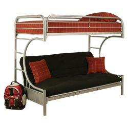 As crianças Futon Beliche - Prata (Twin XL/Rainha) Futon cama beliche de Metal