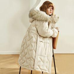 Neuer Winter-Wärmer-Outwear im Freienmantel-Gleichheit-Taille der Form-Frauen lang Freizeit-beiläufige unten Umhüllungen des mit Kapuze Fox-Pelz-weißen Ente-unten Mädchens