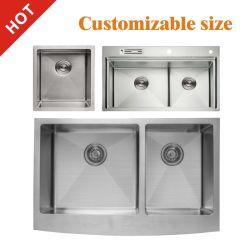 مطبخ تجاري مستخدم SUS 304 من الفولاذ المقاوم للصدأ والأحبار Single Double حوض حوض حوض حوض الاستحمام المنطاد وعاء مطبخ منطاد