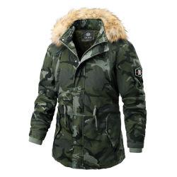 Les hommes d'impression de camouflage d'hiver Manteau matelassé Veste polaire à capuchon occasionnel coupe-vent parkas