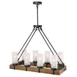 Lámpara de araña de madera de la Isla de la cocina Iluminación lámpara de araña de luces colgante de la luz de 8