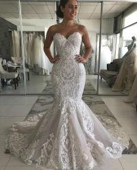 인어 레이스 신부 복장 주문 웨딩 드레스 2020 W2012