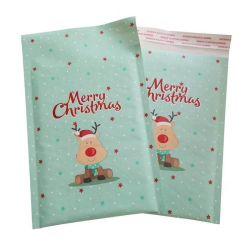 O logotipo personalizado impresso colorido férias de Natal Transporte Kraft Envelope com plástico de bolinhas