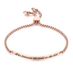 Mode boucle déployanteen acier inoxydable réglable du coeur le lettrage Bar femmes Bracelet