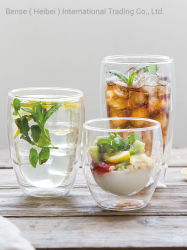 Alta calidad de diferentes tamaños de doble pared de vidrio borosilicato de taza de café té de la copa de leche de la Copa de zumo de vidrio de la Copa de cerveza