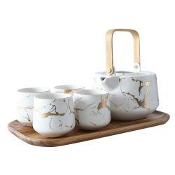 De noordse Ceramische Pot van de Thee van de Middag van de Thee van de Bloem met 4PCS de Reeks van de Kop