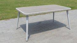 Светло-серый PE плетеной таблица алюминиевая рама таблица