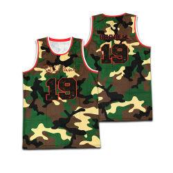Personnaliser l'équipe de Basketball Maillot de basket-ball de camouflage uniforme de la technologie de broderie Vêtements de basket-ball