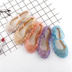 Las niñas congelados de verano sandalias zapatos de cristal los niños de la princesa de PVC de zapatos de tacón